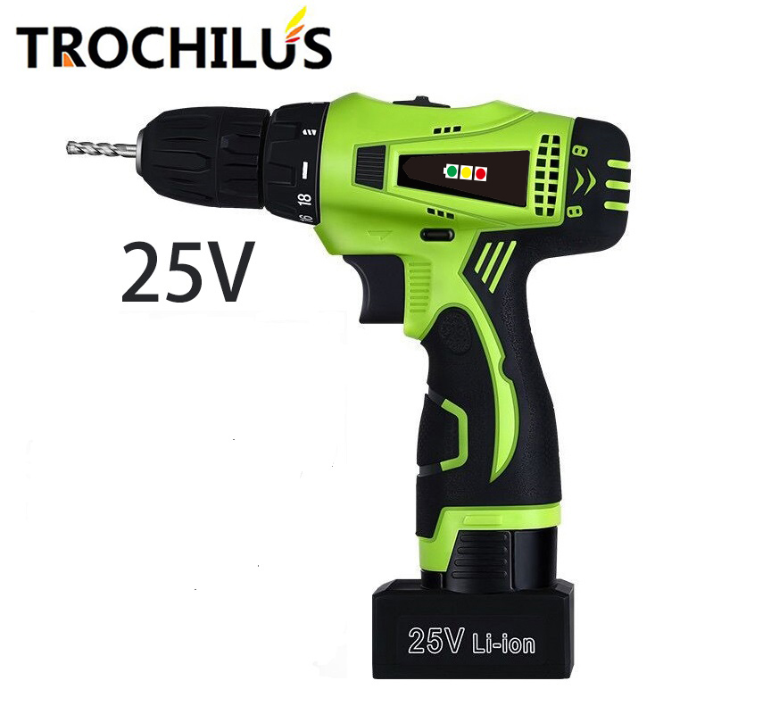 25V Multifunction Power Tools Cordless Electric Drill Electric Screwdriver with Lithium Battery Rechargeable Miniature Drill