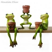 1pc Original Design Cute Resin Frog Flower Pot Succulent Plants Pots Hydroponics Flower Pot Home Garden