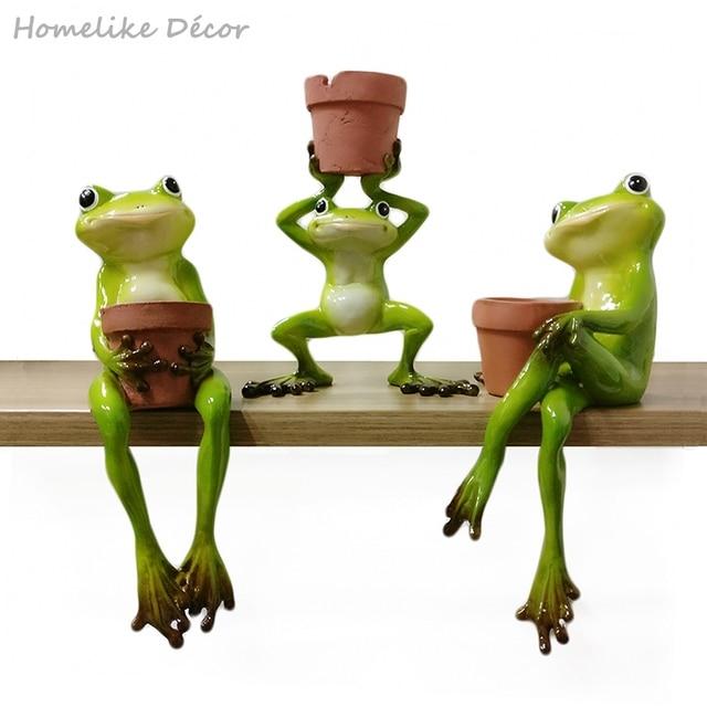 1pc Original Design Cute Resin Frog Flower Pot Succulent Plants Pots Hydroponics Flower Pot Home Garden Desktop Decoration