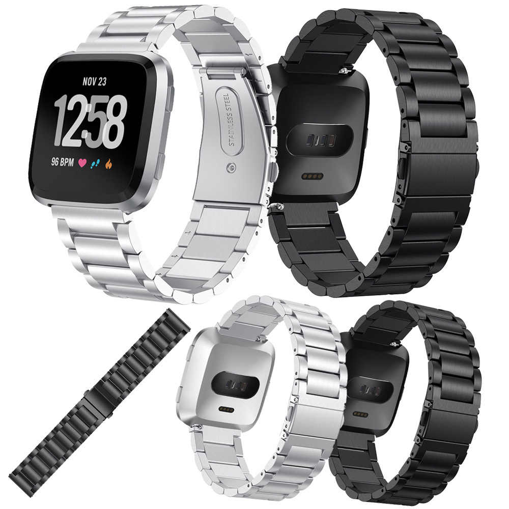 For Fitbit Versa Bracelet Wrist Band Accessories Three beads slingshot Stainless Steel Replacement watch band