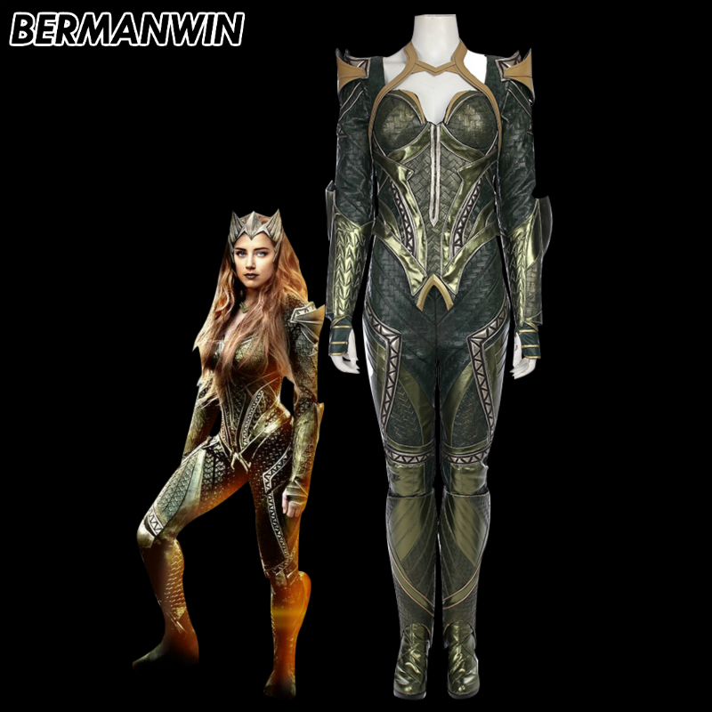 BERMANWIN High Quality Justice League Mera Costume Adult Women Aquaman Queen Mera Costume Halloween Cosplay Costume