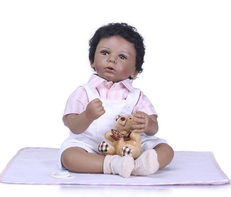 50 cm Bebe Reborn Puppe Weiche Silikon Mädchen Spielzeug Vinyl Reborn Babys Puppen Geschenk für kinder Tag Schwarz Haut junge Geburtstag Geschenk-in Puppen aus Spielzeug und Hobbys bei  Gruppe 1