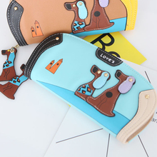 Купить с кэшбэком 4 Color Japanese-style  Women Wallets Cartoon dog zipper Women's Purse  Long Design Zipper Ladies Wallet  PU Leather Card Holder