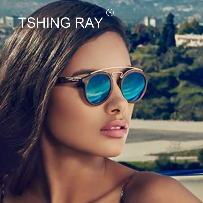 15816fe09f6 TSHING RAY Vintage Brand Designer GATSBY Double Bridge Round Sunglasses  Women Men Fashion Aviation Mirror Sun Glasses For Female-in Sunglasses from  Apparel ...