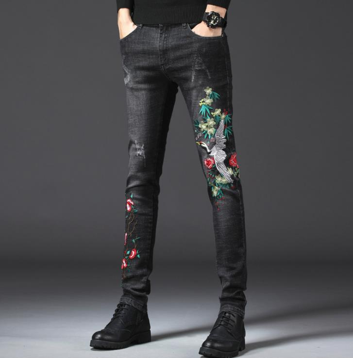 b10b649ef2136d 2019 Men S Flower Crane Bird Embroidery Patch Ripped Jeans Casual ...