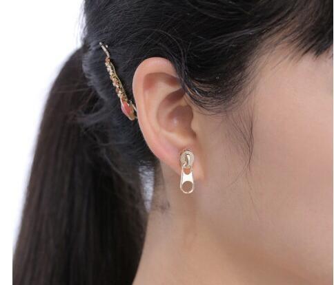 Fashion Personality Vintage Alloy Gold Silver Black Zipper Stud Earring.jpg 640x640 - Fashion Personality Vintage Alloy Gold Silver Black Zipper Stud Earring