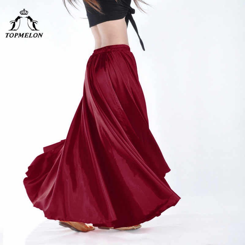 TOPMELON נשים ריקוד חצאיות חצאית חלק משיי ארוך מוצק אלסטי תלבושות למופעים ביצועים כחול צהוב סגול