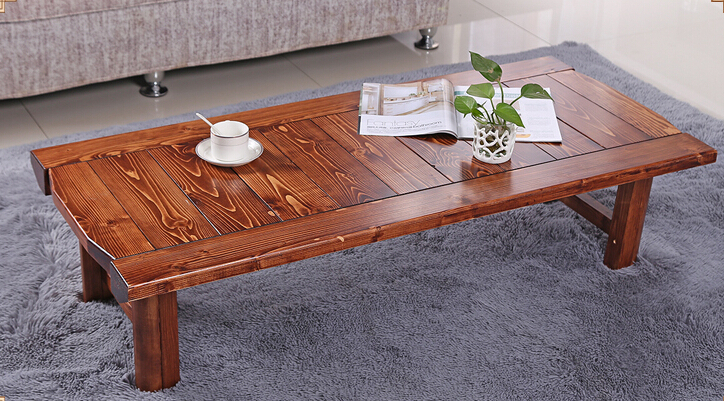 Japanese Antique Low Table Rectangle 90*48cm Folding Legs Asian Furniture Traditional Living Room Solid Wood Table For Dinning solid pine wood folding round table 90cm natural cherry finish living room furniture modern large low round coffee table design