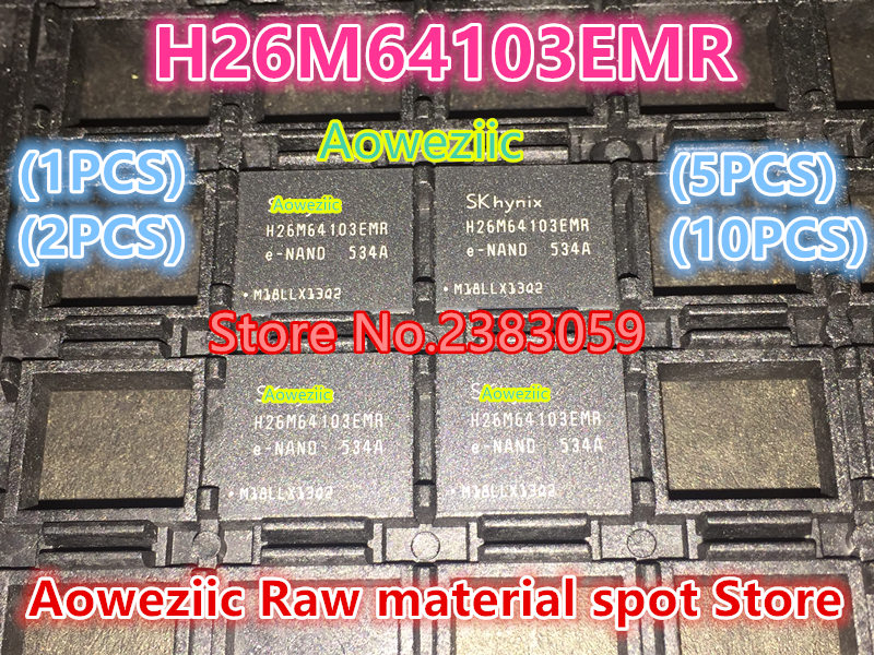 Aoweziic (1PCS) (2PCS) (5PCS) (10PCS) 100% New original  H26M64103EMR  H26M64103  BGA  32G  EMMC font chip 1pcs 2pcs 5pcs 10pcs 100% new original klmdgageac b001 bga 128gb emmc tablet or mobile storage chip klmdgageac b001