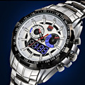 Спортивные часы ТВГ высокого класса марки Мужские Часы Led Дисплей Полный Стали Кварцевые Часы Моды для Мужчин Сапфир Водонепроницаемый Военные часы