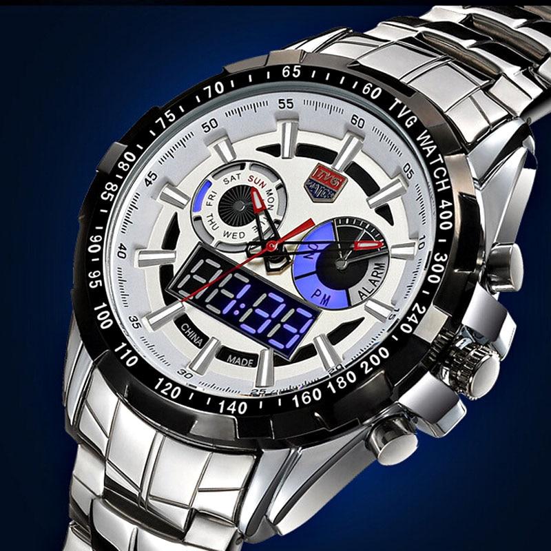 Sport watch TVG high-end brand Watches Men Led Display Full Steel Quartz Watch Men Fashion Sapphire Waterproof Military Watch brand tvg men watch fashion led digital