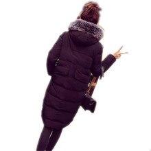 2016 Новый Зимний Высокое Качество Пальто Женщин Пуховик Роскошные Меховые Воротники Тонкий Pure Color Теплый Долго Вниз Пальто A0943