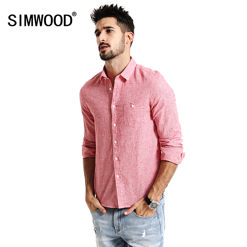SIMWOOD 2017 New Spring long Sleeve Casual Shirts Men Cotton and Linen Fabric Slim Fit red