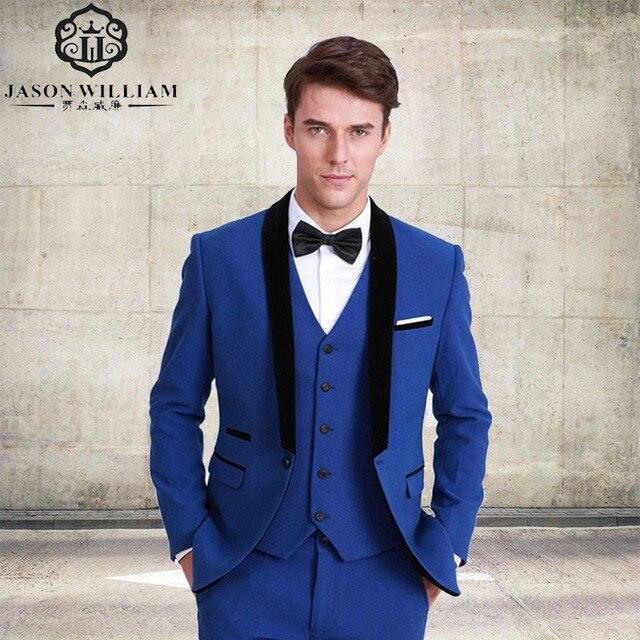 c64af99f1b LN074 estilo clásico padrinos traje un botón del novio esmoquin azul real hombres  trajes novio para