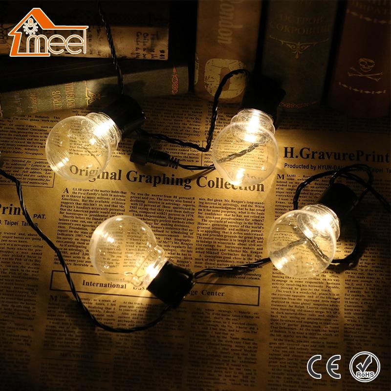 MEEL 110V/220V Connectable Festoon LED Globe Bulb LED Wedding Fairy String Light 20 LED Christmas Light Garden Pendant Garland цена