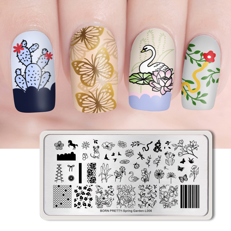 <font><b>BORN</b></font> <font><b>PRETTY</b></font> Beauty Nail Stamping Plates Flower Image Pattern 12 * 6cm Nail Art Stamp Template Spring Garden <font><b>L001</b></font> image