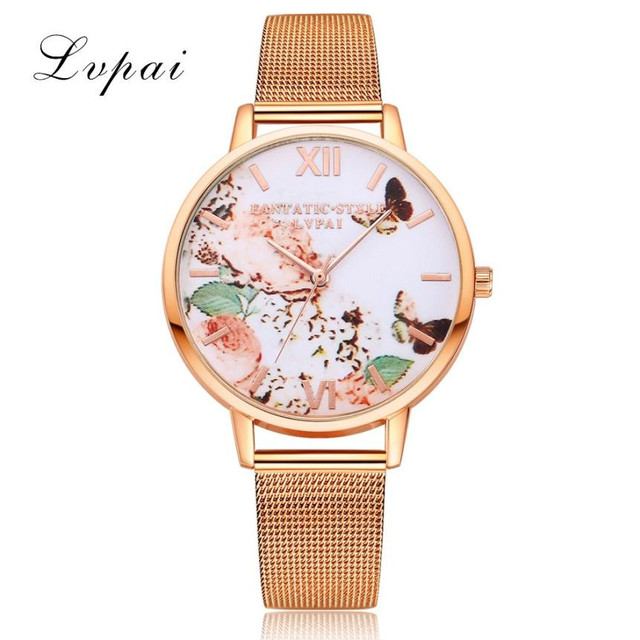 New Brand LVPAI Flower Watches Women Fashion Watch 2017 Gift Mesh Stainless Stee