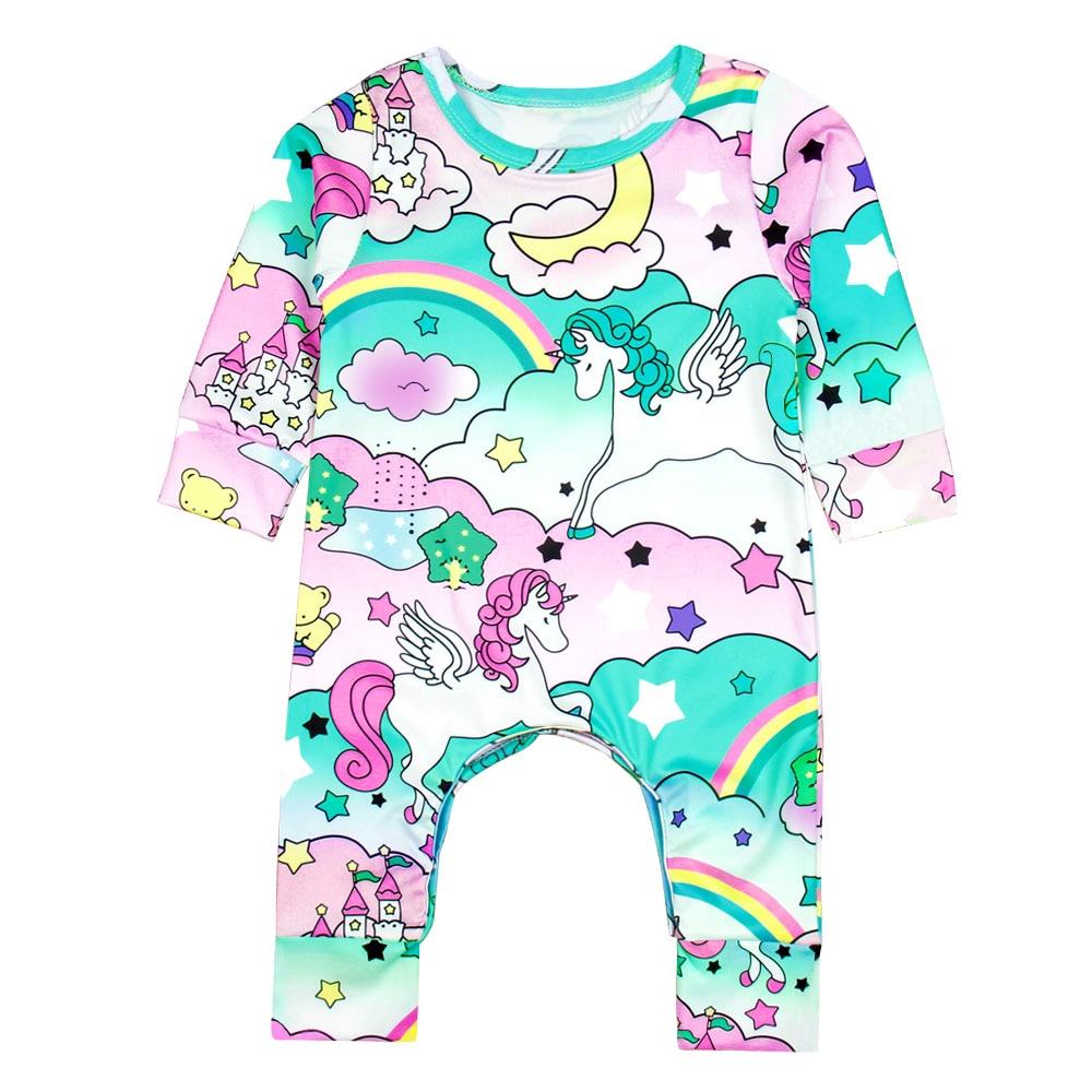 Newborn Cartoon Colorful Unicorn Paradise Print Long Sleeve Baby Jumpsuits Spring Autumn ...