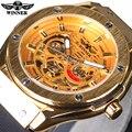 Vencedor 2016 Design Clássico Mens Watch Top Marca de Luxo Automático Esqueleto Masculino Relógio De Pulso Relógio Relógio Do Esporte Dos Homens de Ouro Série