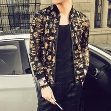 Stylish Print Jacket Men Fashion 2018 Summer New Slim Fit Thin Bomber Jackets Long Sleeve Night Club Gold Singer Costume 5XL-M