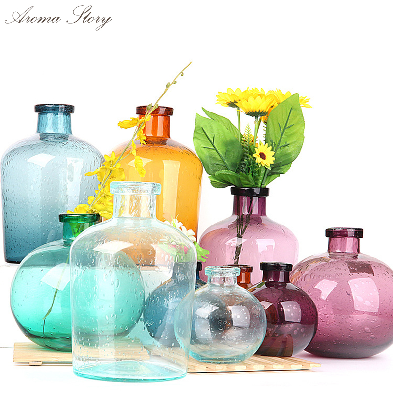 Zakka Nordic Marine Style Blue/Red/Brown Bubble Glass Vases Hand-blown Flower Vases Bedroom Table Vase Simple Home Decoration