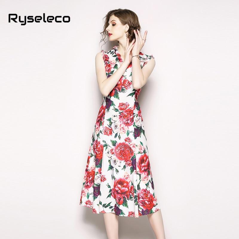 Réservoir Casual Affiches Rose Femmes Robes Femme Floral Grand Sans Chic Manches Flare Élégant Ruches Partie Fleur Qualité Midi Sexy nt8gq05wg