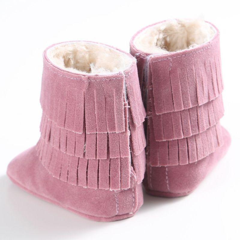 Модные зимние детские мягкие новорожденных Обувь для маленьких девочек мальчиков бахрома Обувь подошве противоскользящие Очень Теплые по...