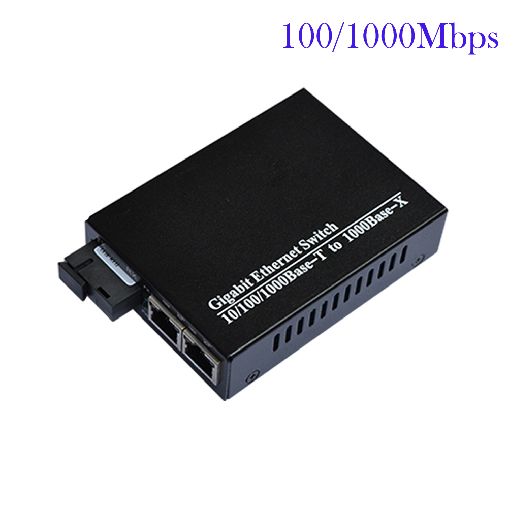 Premium Fiber optic to 2ports 100/1000Mbps gigbit ethernet Optical Fiber Switch singlemode simplex SC