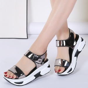 Image 5 - WDZKN 2020 Summer Shoes Women Sandals Open Toe Wedges Heel Sandals Mirror PU Leather Women Casual Platform Sandals Black Blue