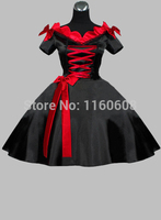 Gothic Short Black and Red Silk-like V Neck Victorian Era Dress