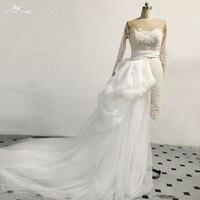 Короткое свадебное платье с длинным рукавом 2 в 1 со съемным шлейфом RSW1477