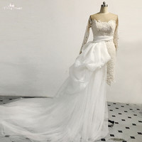 RSW1477 Long Sleeve 2 In 1 Short Wedding Dress With Detachable Train
