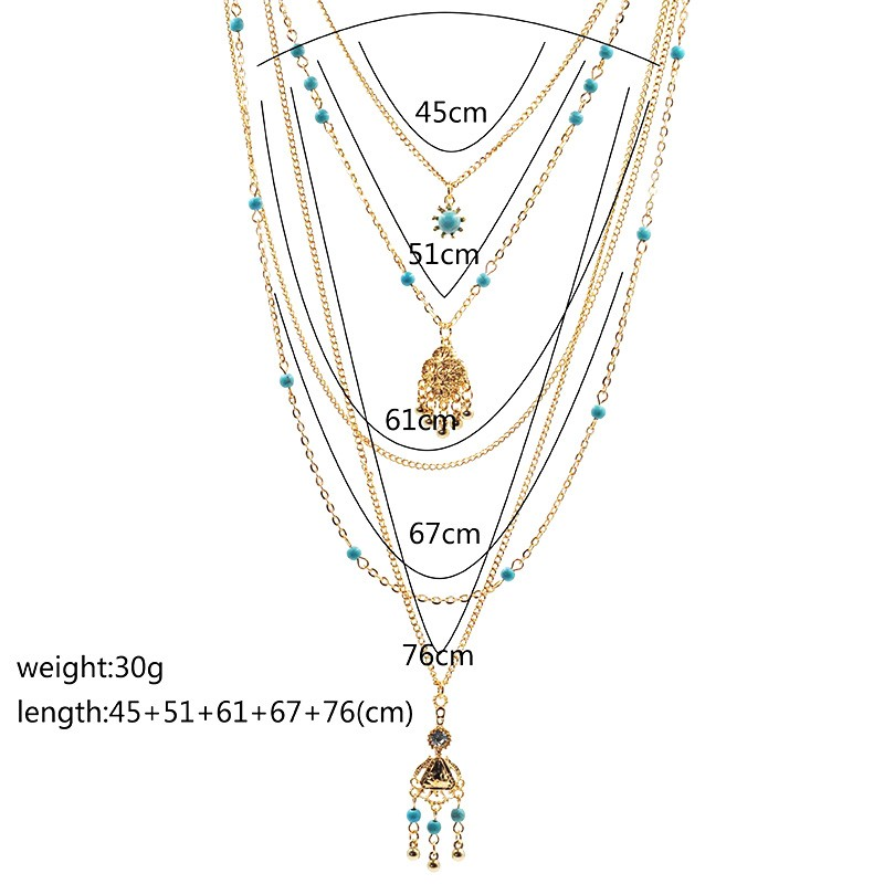 2016 Hot Sale Ethnic Bohemia Flower Necklace Women Vintage Multi Layered
