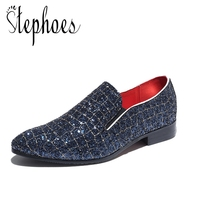 Stephoes Luxury Brand Bling Men Shining Sequins Fashion Loafers Male Slip on Pointed Toe Leather Dress Shoes Plus Size Sneakers