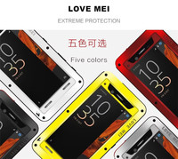 LoveMei Powerful Waterproof Shockproof Metal Aluminum Case Cover For Sony Xperia XZ Tempered Glass Screen