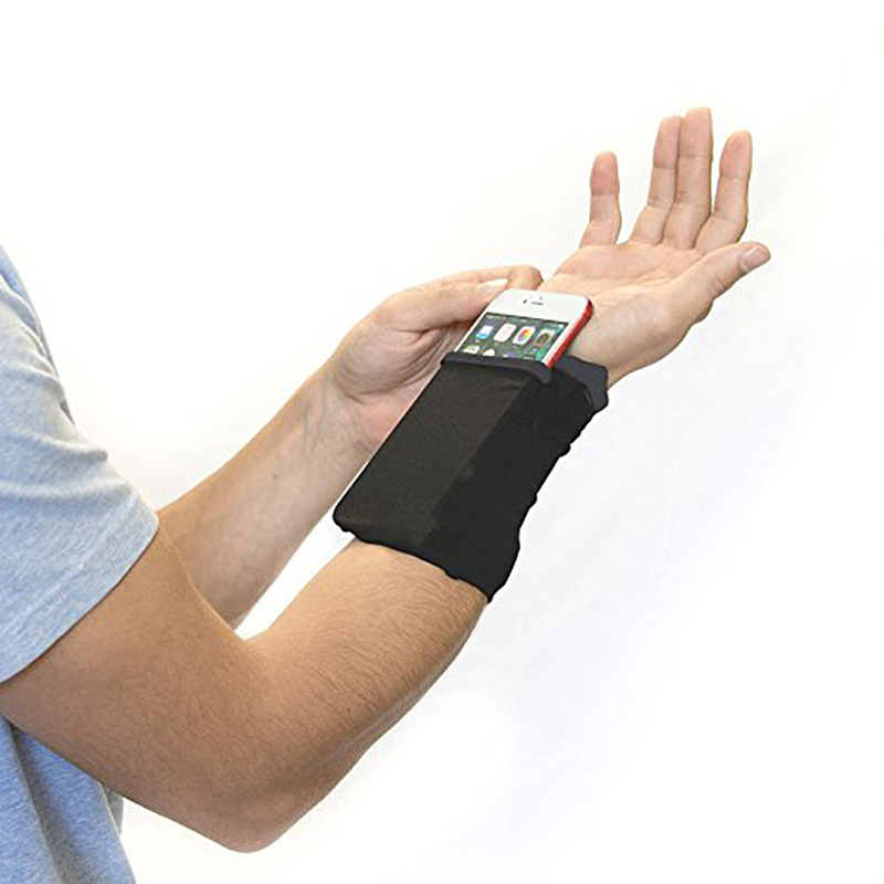 Gym Cycling Running Phone Arm Bag Wristband Badminton Tennis Sweatband Wrist Support Pocket Wrist Wallet Pouch Arm Band Bag double pocket mobile phone pouch arm bag with velcro strap black