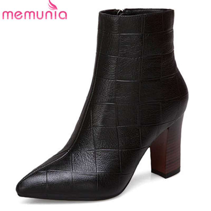 MEMUNIA 2018 popular genuine leather ankle boots for women pointed toe zipper autumn winter boots square high heels dress shoesMEMUNIA 2018 popular genuine leather ankle boots for women pointed toe zipper autumn winter boots square high heels dress shoes