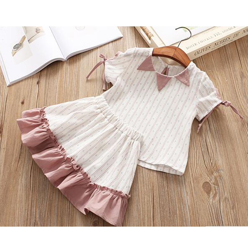 Kids Girl clothing set summer 2pcs striped cold shoulder polka dots top ruffles and skirt fashion baby casual cute clothes 2pcs children outfit clothes kids baby girl off shoulder cotton ruffled sleeve tops striped t shirt blue denim jeans sunsuit set