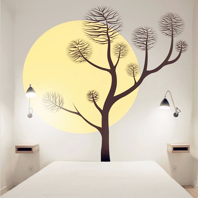 beautiful scene of tree and full moon wall art sticker vinyl wall