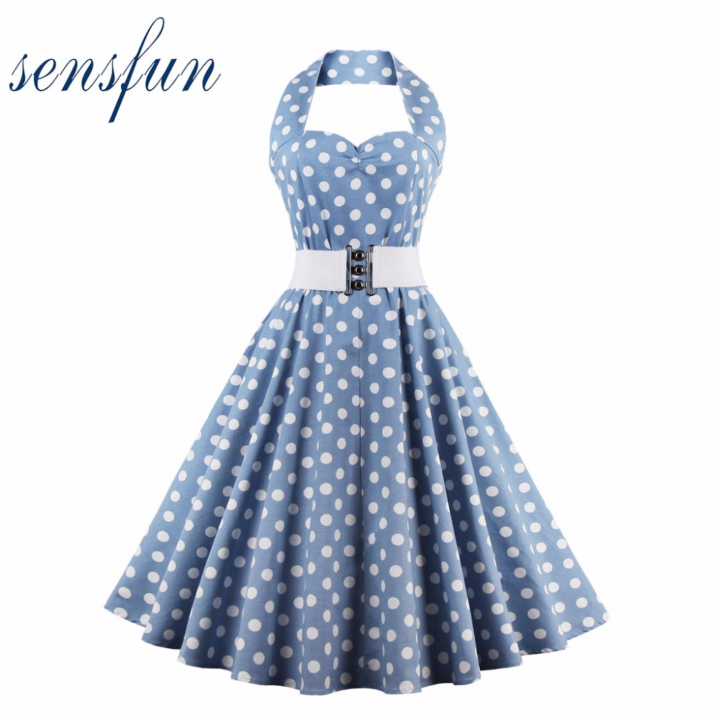 Sensfun Summer Dress Sexy Women Cotton Vintage Dress 50 60s Elegant Vestidos Audrey Hepburn Robe Retro Rockabiliy Party Dresses