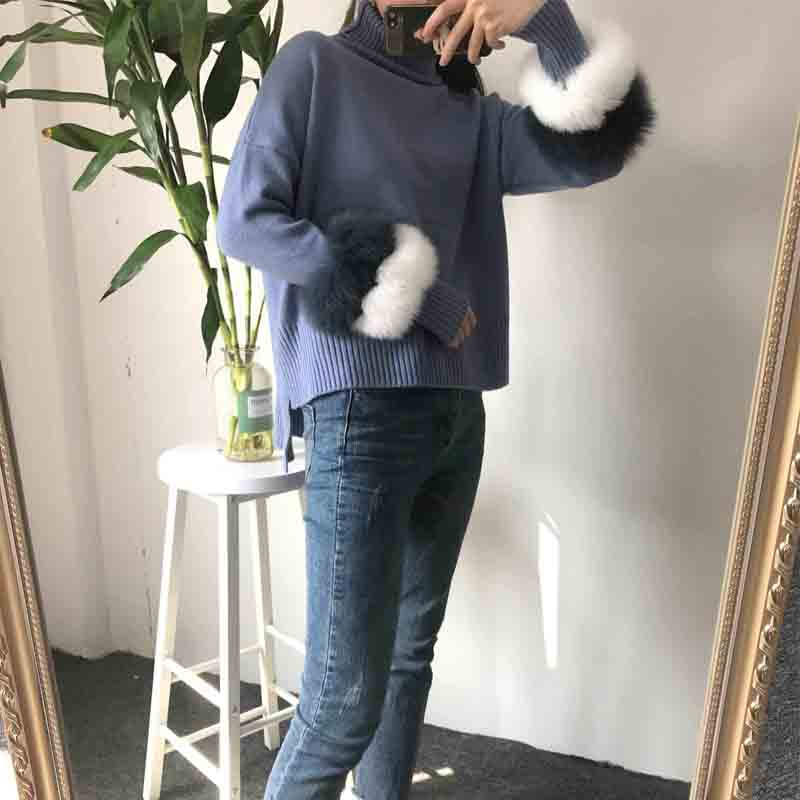 New plus size winter women cashmere knitted Fox Fur pullover turtleneck with fur cuff unif decoration garment Sweater