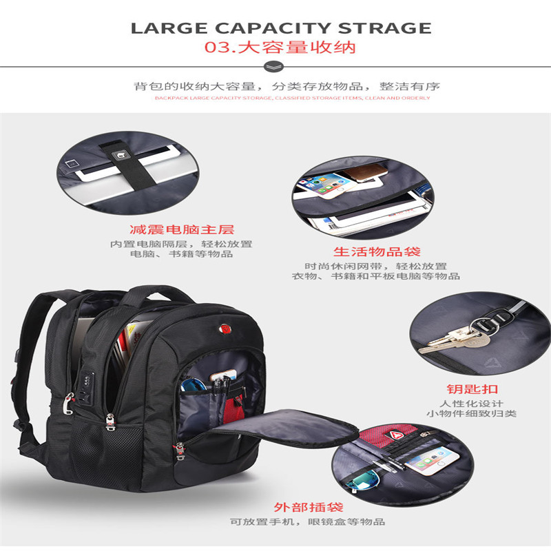 Men 17 inch tsa anti theft travel laptop Backpack Waterproof Laptop Backpack High Quality School Bagpack