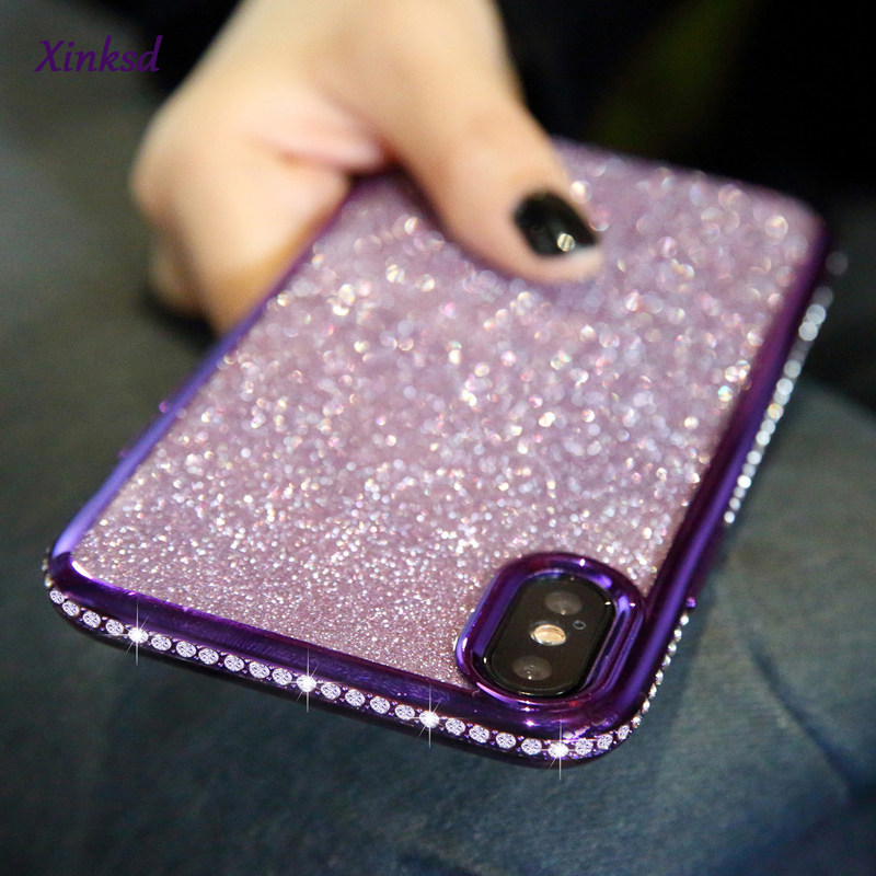 Rhinestone Glitter Case for Apple <font><b>iphone</b></font> XS MAX XR XS X 7 <font><b>8</b></font> Plus 6 S 6s Soft Silicone TPU Diamond <font><b>Sexy</b></font> Girl Protector Back <font><b>Cover</b></font> image