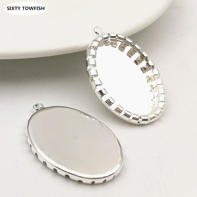 20pcs Platinum Plated Brass Blank Base Lace Round Cabochon Settings Tray 10mm