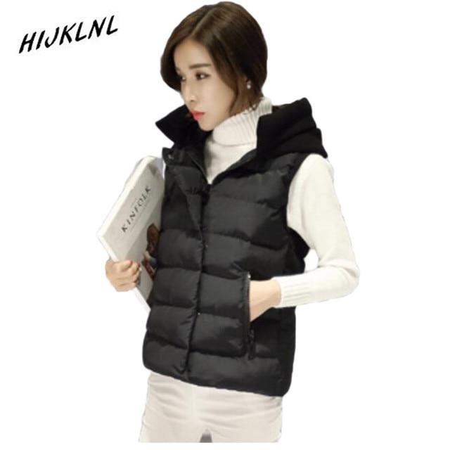 HNIJKLNL Ladies Vest Slim thick hooded women's vest cotton winter women vest jacket winter sleeveless coat for women JX112