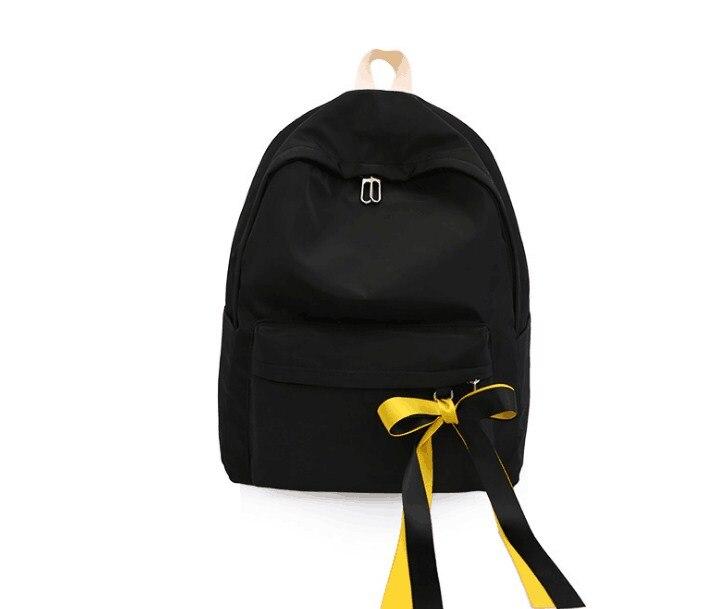 2019 솔리드 캔버스 여성 리본 레저 배낭 대형 학생 가방-에서백팩부터 수화물 & 가방 의  그룹 2