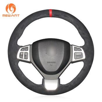 MEWANT Black Suede Car Steering Wheel Cover for Suzuki Swift Sport 2012 2013 2014 2015-2017 Vitara S 2016-2018 2019