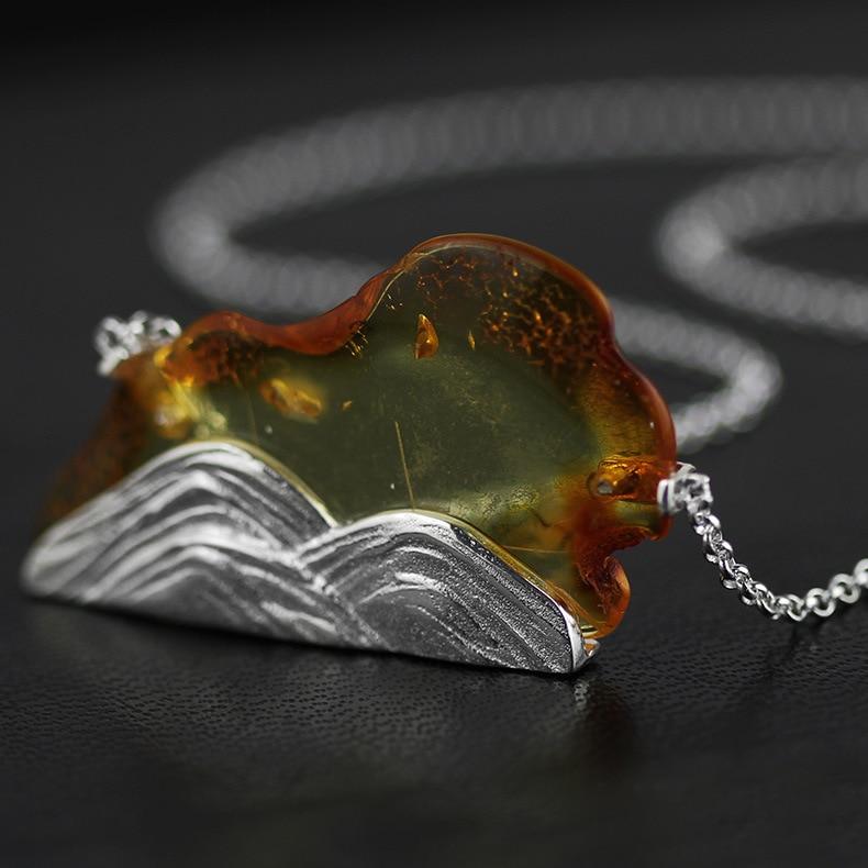 Acecare Original respiration pur argent naturel ambre collier 925 pur argent bijoux en gros-R