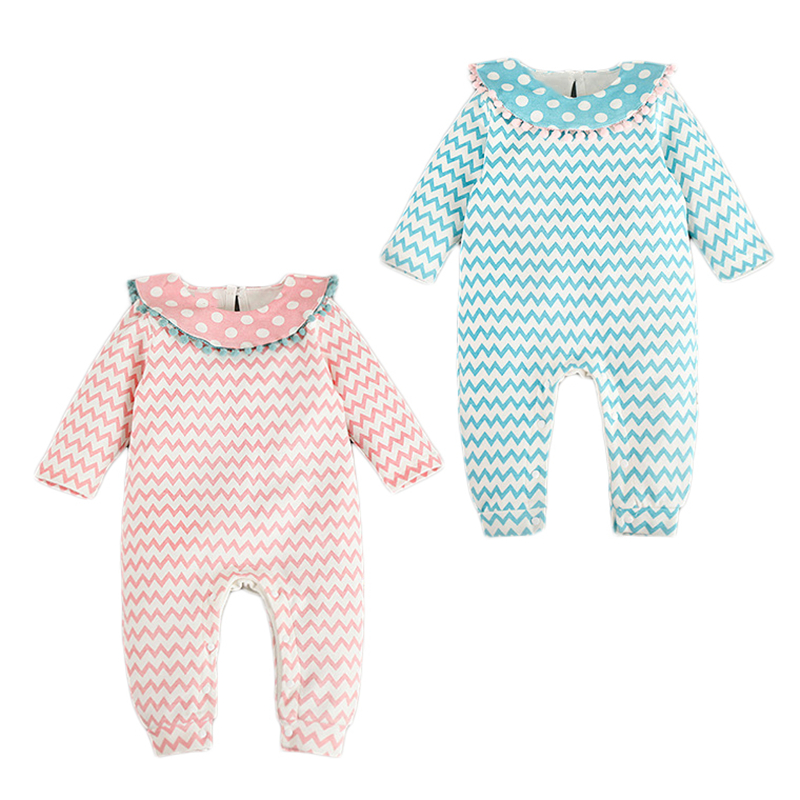 Baby Girl Fashion Romper Autumn Polka Dot Baby Romper Wave Striped Newborn Jumpsuit Ropa Bebe Body Sweet Baby Princess Clothes