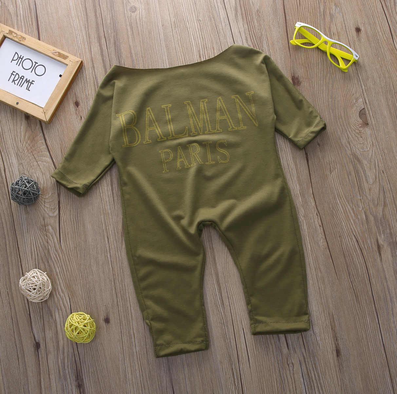 Милый детский армейский зеленый комбинезон с длинными рукавами для девочек, комбинезоны с вырезом лодочкой, детская одежда